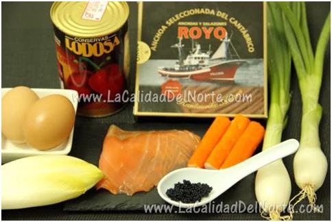 Ensalada de endivias, palitos de cangrejo y anchoas del Cantábrico