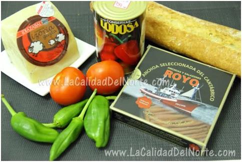Pintxo de Anchoas del Cantábrico sobre queso Idiazabal y Pimientos