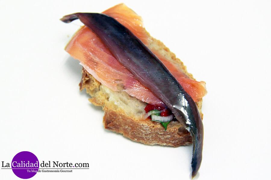 Pintxo de anchoas salmón y langostinos LaCalidadDelNorte MahatsHerri CalidadVasca.com