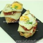 Receta: Pintxo de huevo de codorniz con queso Idiazábal y jamón ibérico
